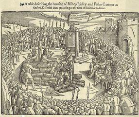 Ridley and Latimer Burned at the Stake in Oxford. Public Domain